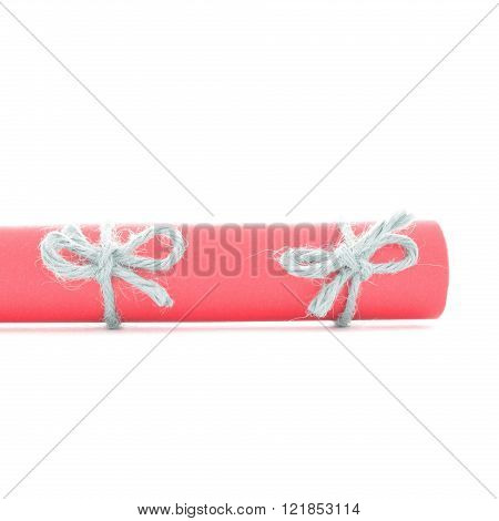 Natural Handmade Rope Knots Tied On Red Paper Roll Isolated