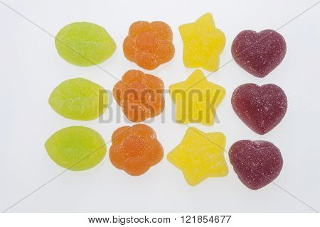Jelly candies on white background. Gummy candy on a white background. We like gelatin