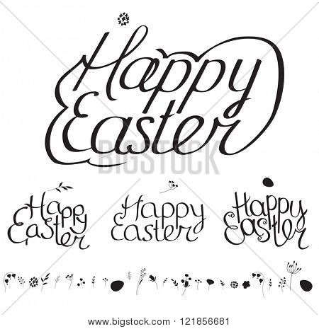 Easter spring set. Phrase Happy Easter, four variants, silhouettes of  eggs and flowers. Black and white.