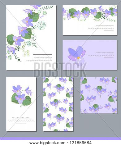 Floral spring templates with cute wild violas. For romantic and easter design, announcements, greeting cards, posters, advertisement.