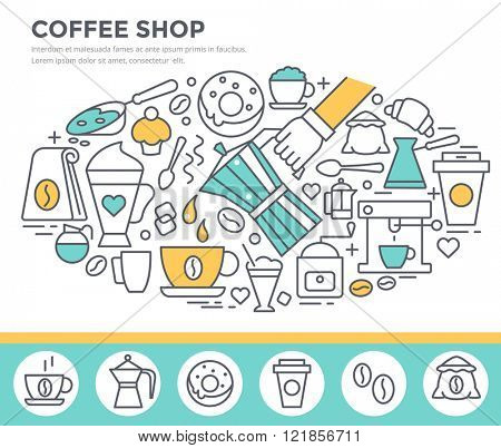 Coffee shop concept illustration, thin line flat design