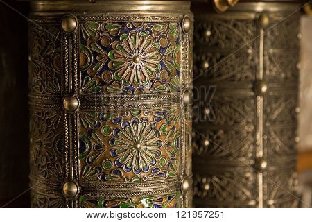 decorated and embellished silver pieces in the 19th century Bahia Palace in Marrakech, Morocco