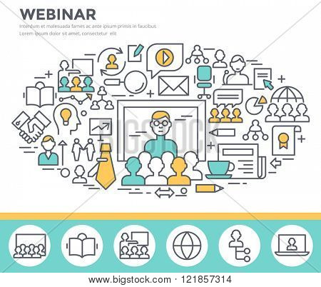 Webinar and online seminar concept illustration, thin line flat design