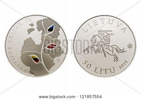 commemorative circulation 25 litas coin