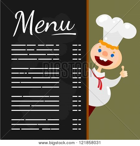 Happy chef at Menu blackboard