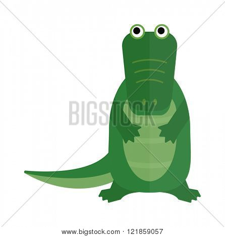 Australian crocodile dangerous porosus and australian wildlife green crocodile danger predator flat vector. Australian saltwater green crocodile cartoon flat vector illustration.
