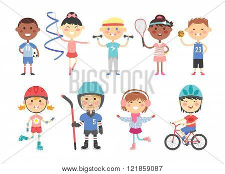 Sport kids characters with toys and sport kids activity group, kids playing various sports games such us hockey, football, gymnastics, fitness, tennis, basketball, roller skating, bike flat vector.
