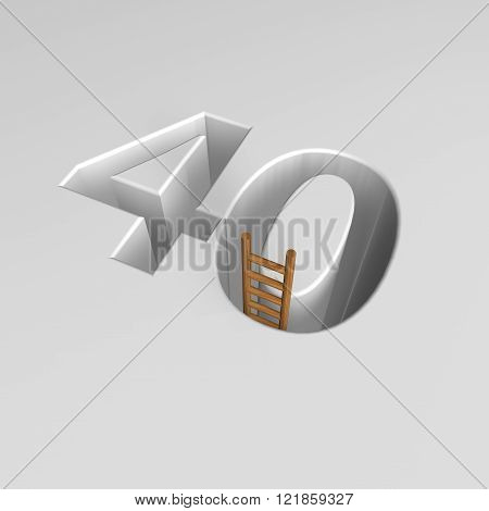 number forty shape hole with ladder - 3d illustration