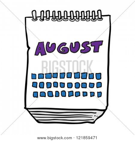 freehand drawn cartoon illustration calendar showing month of august