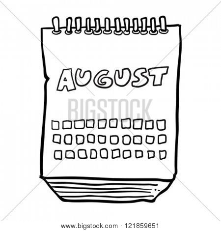 simple black and white freehand drawn cartoon calendar showing month of august