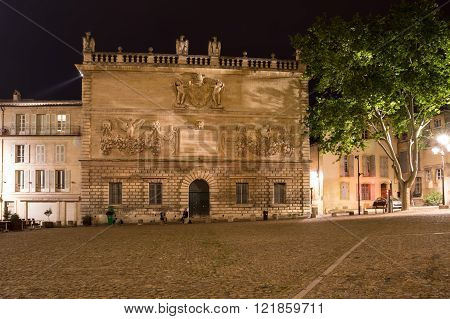AVIGNON, FRANCE - MAY 03, 2015: Palace square in Avignon in the night France