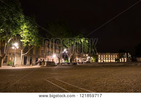 AVIGNON, FRANCE - MAY 04, 2015: Palace square in Avignon in the night, France