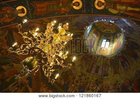 Christian church dome interior with lightnings and natural light