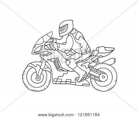 Sketch of biker on bike. Black and white illustration.