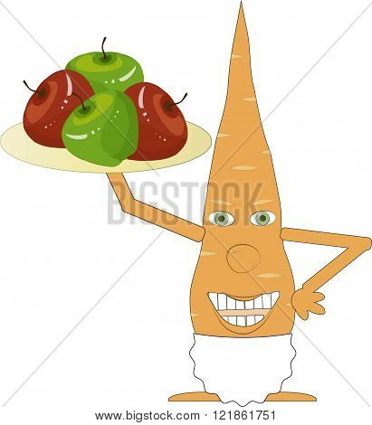 Orange carrot in a white apron holding a tray with red and green apples in hand on white background, the chef, the waiter, vector