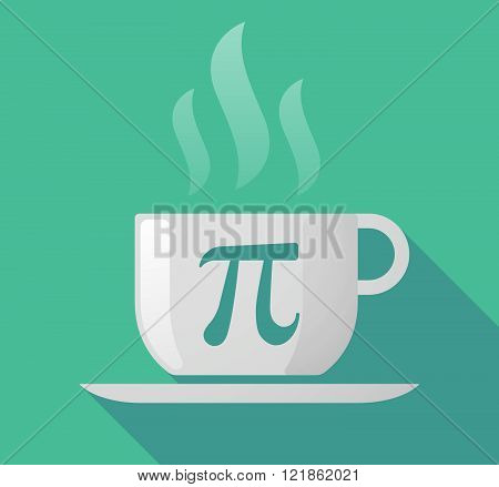 Long Shadow Cup Of Coffee With  The Number Pi Symbol