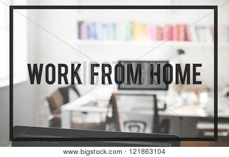 Work From Home House Interior Office Business Concept