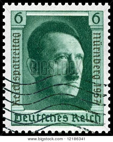 1937 vintage German postage stamp of Adolf Hitler Nuremberg was home of the Nazi rally of 1937 and the first war crimes trials after WW2