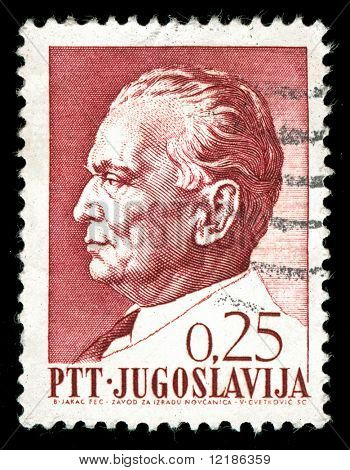 vintage stamp depicting the Yugoslav Communist Dictator Josip Tito who came to power after WW2