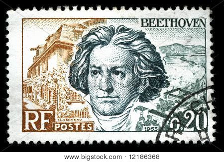 vintage french stamp depicting Ludwig van Beethoven a famous classical music composer and virtuoso pianist
