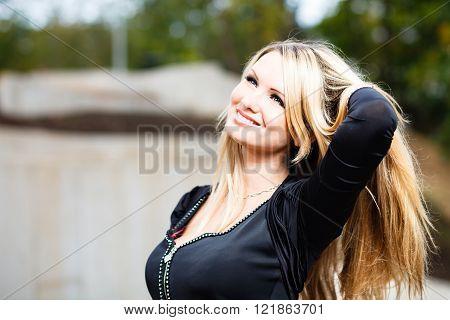 Blond womans outdoor portrait
