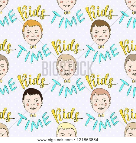 Hand drawn seamless vector pattern with kids and lettering Kids Time. Childish doodle background