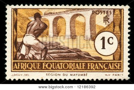 vintage stamp from Equatorial Africa now Congo, Chad, Gabon, depicting railroad worker