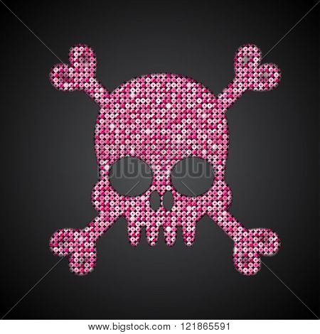 Vector pink sequin skull. Jolly Roger.  Eps 10.