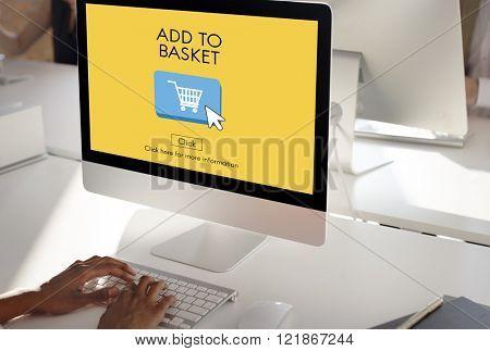 Basket Buying Cart Commerce Consumerism Digital Concept