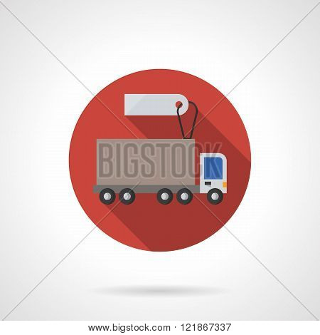 Lorry for sale red round flat color vector icon