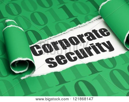 Security concept: black text Corporate Security under the piece of  torn paper
