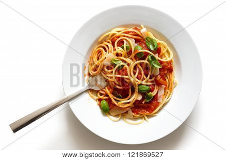 Spaghetti With Fork, Tomato Sauce, Fresh Basil And Cheese. Isolated On White From Above.