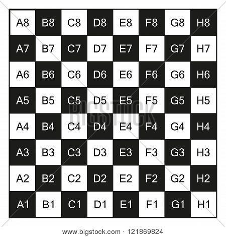 Chessboard with coordinates illustration isolated on white