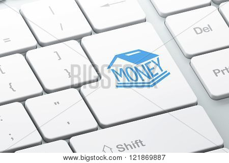 Money concept: Money Box on computer keyboard background