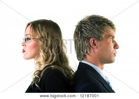 An alienated couple looking in different directions