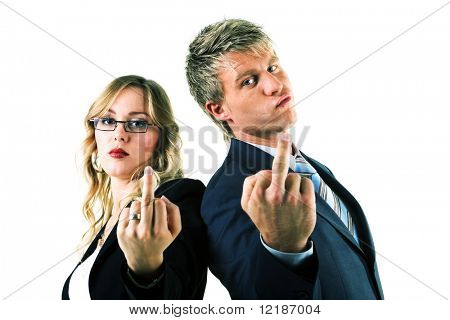 A couple, both businesspeople, showing the finger to the viewer