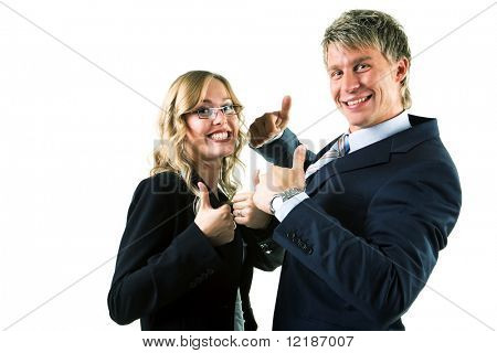Two businesspeople (male / female) showing thumbs up