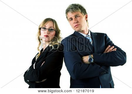 Two business people (male / female) looking rather arrogant