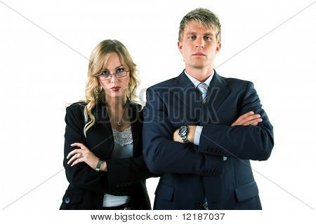 Two business people (male / female) with folded arms blocking the way