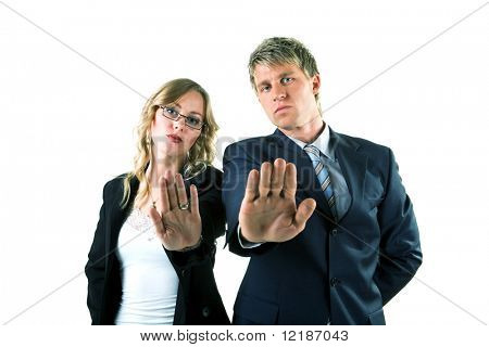 Complete rejection expressed by two people in suits