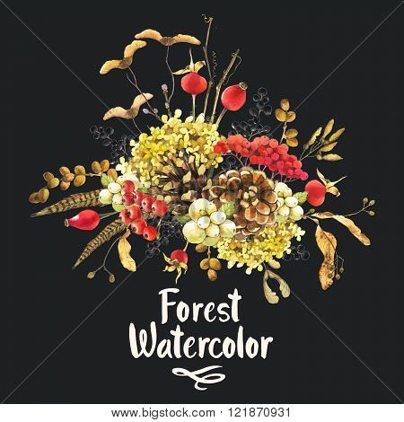 Illustration with watercolor winter berries and plants.