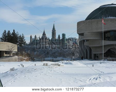Canadian Parliament Buildings and Canadian Museum of History from Gatineau in winter
