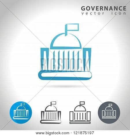 Governance icon set collection of government buildings vector illustration