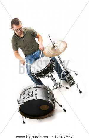 A drummer playing his drumset