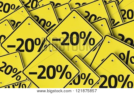-20% multiple yellow sign
