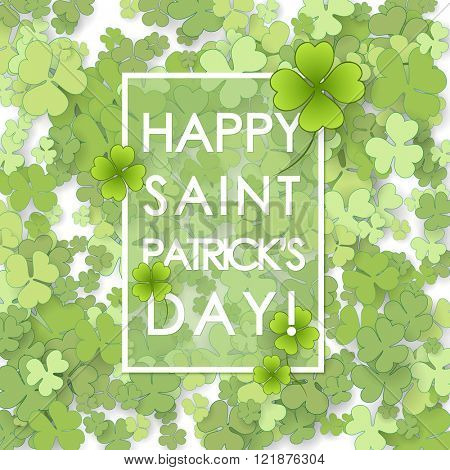 St Patrick's Day background. Vector illustration for lucky spring design with shamrock.
