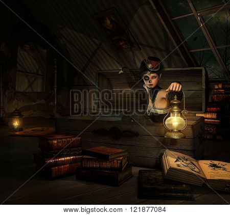 3d computer graphics of a girl with sugar skull makeup a topper of her head and a lantern in her hand sitting in a coffer