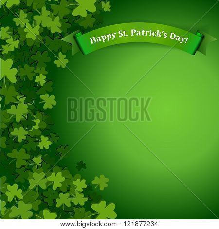 Abstract St. Patrick's Day background with falling clover leaves and banner vector illustration