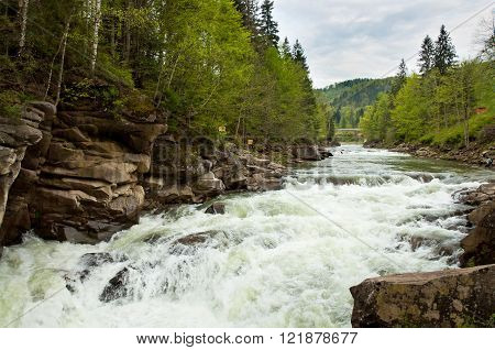 Prut River And Waterfall Probiy In Carpathians, Ukraine