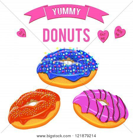 Assorted donuts set. Collection of tasty realistic donuts with different icings isolated on white background. Yummy vector doughnuts set with various sprinkles toppings glazing and icing